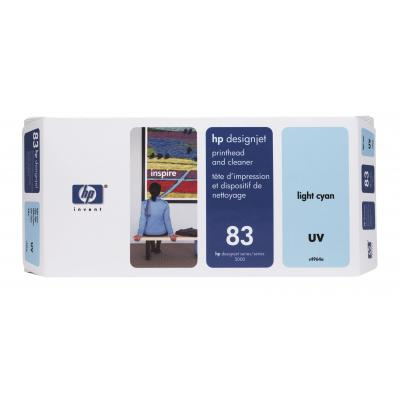Hp printkop: 83 licht-cyaan printkop en printkopreiniger, UV - Lichtyaan