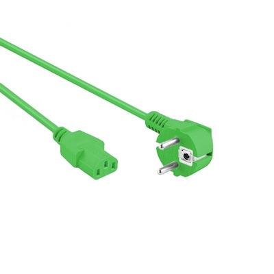 EECONN Netsnoer, Schuko Haaks (CEE 7/7) - C13, Kabel: H05VV-F 3x 1.00mm², Kleur: Groen, Lengte: 3 meter .....