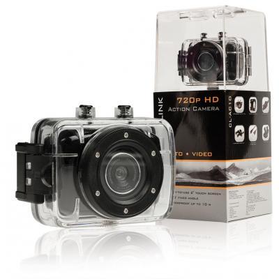 """Camlink actiesport camera: HD-actiecamera 720p met 2""""-touchscreen - Zwart"""