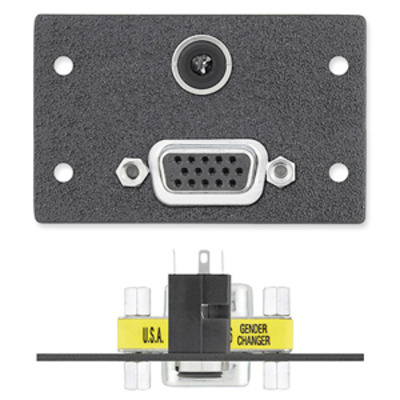 Extron One 15-pin HD Female to Female Gender Changer, One 3.5 mm Stereo Mini Jac Wandcontactdoos - Grijs