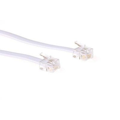 ACT RJ12 - RJ12 cable, White 5.0m Telefoon kabel - Wit