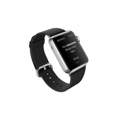 Rock horloge-band: Genuine Leather Watchband, f / Apple Watch 42mm, Black - Zwart