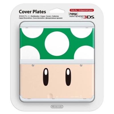 Nintendo portable game console case: New 3DS Cover 008 - Groen, Wit