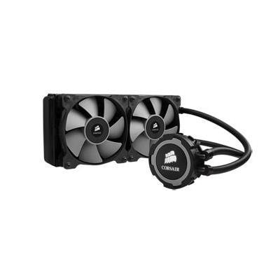 Corsair water & freon koeling: Hydro Series H105 Liquid CPU Cooler, 73 CFM, 37.7 dBA, 3.9 mm/H20, 0.34A - Zwart
