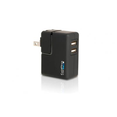 Gopro oplader: Wall Charger - 2x USB 2.0, Black - Zwart