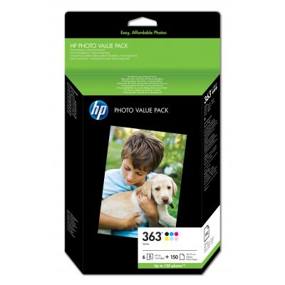 HP printerkit: 363 serie foto value pack, 150 vel/10 x 15 cm - Zwart, Cyaan, Lichtyaan, Lichtmagenta, Magenta, Geel