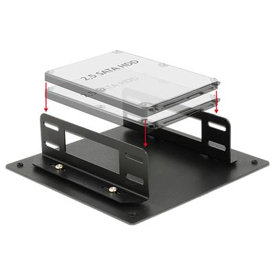 DeLOCK Installation frame for 2 x 2.5″ HDD Computerkast onderdeel - Zwart