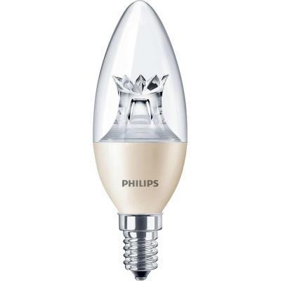 Philips led lamp: Master LEDcandle - Beige, Transparant