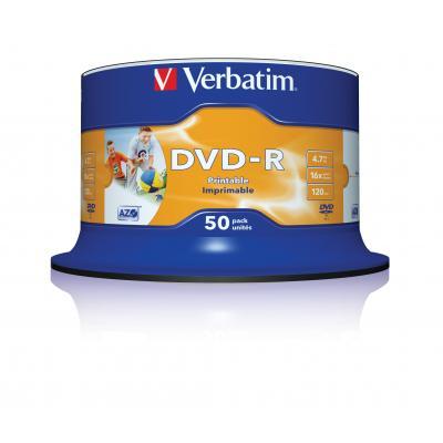 Verbatim DVD: DVD-R 4.7GB 16x 50 Pack Spindle Wide Printable