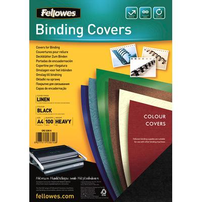 Fellowes binding cover: Dekbladen linnen FSC A4 - Zwart