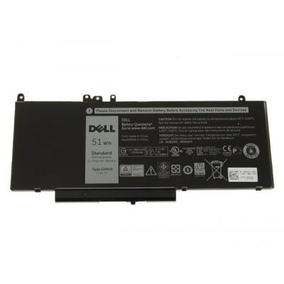 Dell batterij: 51Wh, 4-cell, Li-Ion, 11.1V, Latitude E5250/E2570/E5450/E5470/E5550/E5570 - Zwart