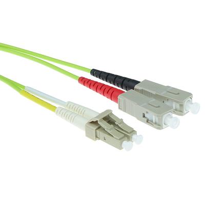 ACT 0,5 meter LSZH Multimode 50/125 OM5 glasvezel patchkabel duplex met LC en SC connectoren Fiber optic kabel