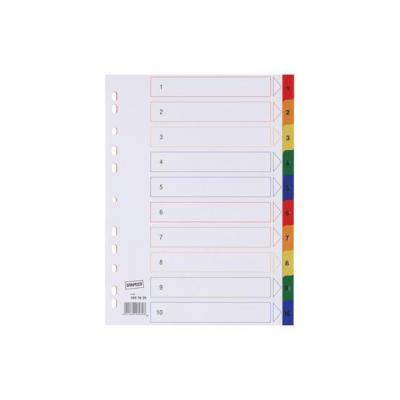 Staples schutkaart: Tabblad SPLS A4 11r 1-10 pp kleur/set 10