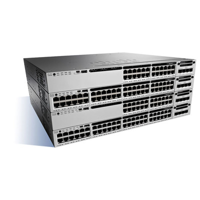 Cisco Catalyst 3850, Stackable, 24 Port, SFP+, 715W, 1 RU, IP Base feature set Switch - Zwart, Grijs