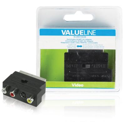 Valueline SCART/SVHS + 3x RCA Kabel adapter - Zwart