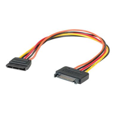 ROLINE SATA stroom verleng kabel E - Zwart, Rood, Geel