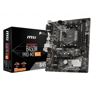 MSI B450M PRO-M2 MAX, AMD B450, AM4, 2x DDR4, PCIe 3.0 x16, 2x PCIe 2.0 x1, VGA, DVI-D, HDMI, SATA, M.2, USB 3.2, .....