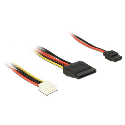 DeLOCK Cable Power Floppy 4 pin power receptacle > SATA 15 pin receptacle (5 V + 12 V) + Slim SATA 6 pin .....