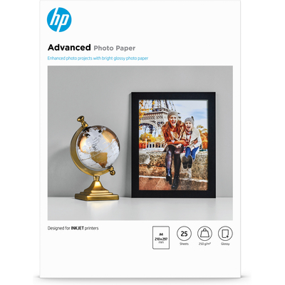 HP Advanced Photo Paper, glanzend, 25 vel, A4/210 x 297 mm fotopapier - Zwart, Blauw, Wit