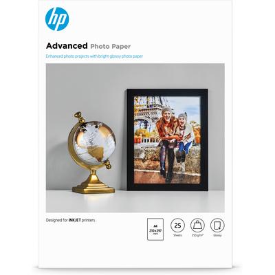 HP Advanced Photo Paper, glanzend, 25 vel, A4/210 x 297 mm Fotopapier - Zwart,Blauw,Wit