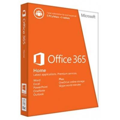 Microsoft software suite: Office 365 Home voor 5 pc's of Macs, 5 tablets en 5 smartphones Engelstalig