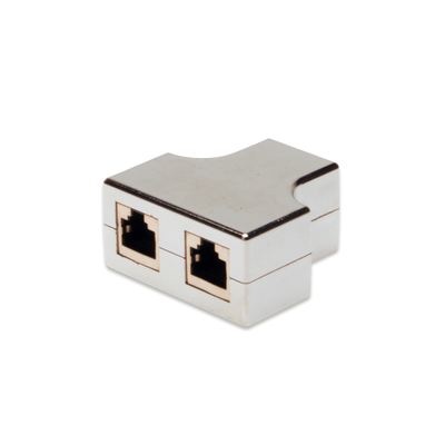 Digitus CAT 5e modular coupler, shielded 2x RJ45 to 1x RJ45, threefold coupler Kabel adapter - Grijs