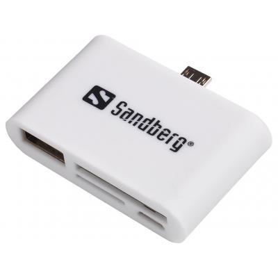 Sandberg geheugenkaartlezer: OTG Card Reader - Wit