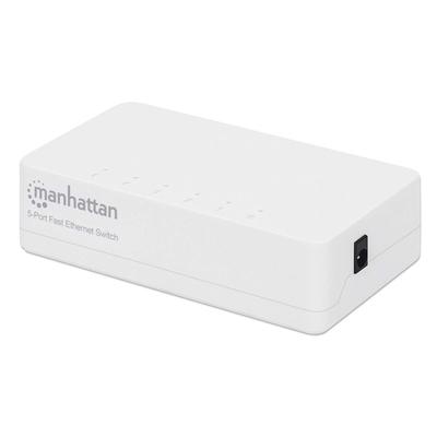 Manhattan 5-Port Fast Ethernet, Plastic (Euro 2-pin plug) Switch - Wit