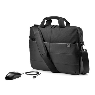 "Hp laptoptas: 15.6"" Classic Briefcase & Mouse - Zwart"