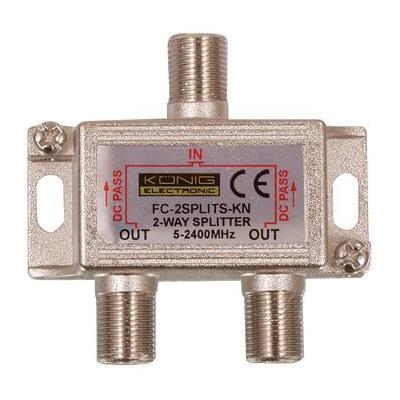 König kabel splitter of combiner: Splitter in een metalen die-cast behuizing met satelliet DC-power pass