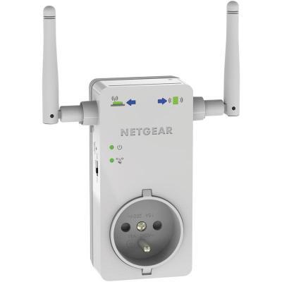 Netgear netwerk verlenger: WN3100RP WiFi Range Extender N300- 1 Fast Ethernet poort met geïntegreerd stopcontact - Wit