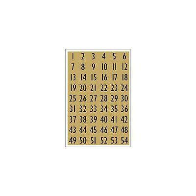 Herma sticker: Numbers 13x12mm 1-100 gold foil black 4 sheets