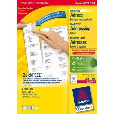 Avery adreslabel: QuickPEEL Adresetiketten, Laser/Inkjet/Kleurenlaser, Wit, 1800pcs.