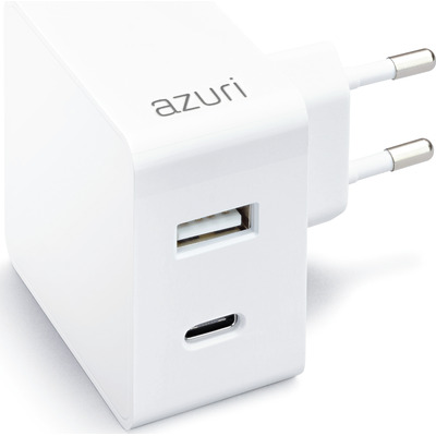 Azuri Home charger with 1xUSB A port, 1xUSB-C port - 3A - wit Oplader