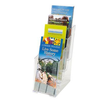 Deflecto folderstandaard: Multi-Compartment Tiered Literature Holder Leaflet Size - Transparant