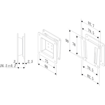 ROLINE LCD bevestiging, wandmontage, 20kg, VESA 75 A Montagehaak - Zwart