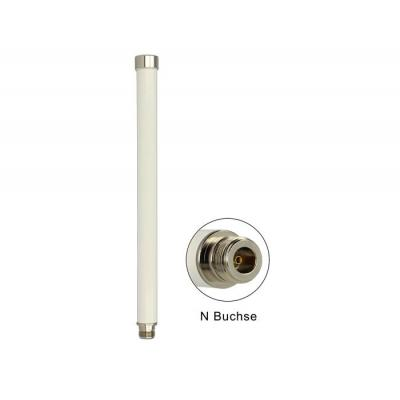 Delock antenne: WLAN Antenna 802.11 ac/a/h/b/g/n N jack 6 ~ 8 dBi 280 mm omnidirectional fixed white outdoor - .....