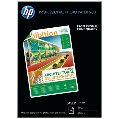 HP Professional Laser Photo Paper, glanzend, 200 gr/m², 100 vel, A4/210 x 297 mm fotopapier - Wit