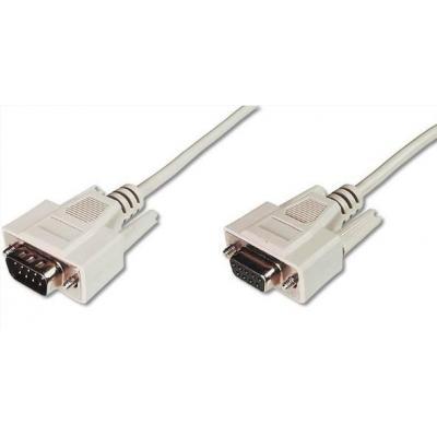 Digitus VGA kabel : Datatransfer extension cable, D-Sub9/M - D-Sub9/F, 3m, beige