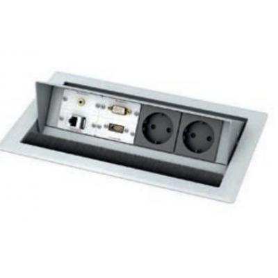 Kindermann CablePort standard 4-fach - RAL 9006, 1x VGA, 1x HDMI, 1x Audio, 1x Cat-6 Inbouweenheid - Zwart, .....