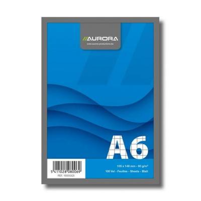 Aurora production kladblokvulling: Cursusblok A6 105x148mm 100v Geruit 5x5mm