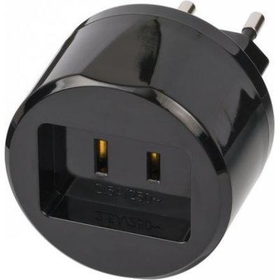 Brennenstuhl stekker-adapter: Travel Adapter USA => Euro with 2.5A fuse - Zwart