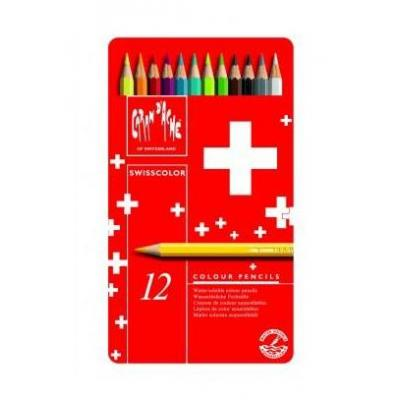 Caran d-ache potlood: Swisscolor Aquarel 12's - Veelkleurig, Rood