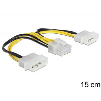 Delock : Cable Power 8 Pin EPS > 2 x 4 Pin molex - Zwart, Geel