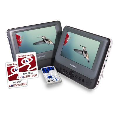 Salora portable DVD player: Een portable DVD speler met twee 7''(18CM) schermen met USB/SD en een automontage set - .....