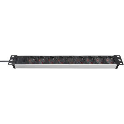 "Brennenstuhl power extrention: Alu-Line 19"" Extension Socket f/ Cabinets, 9-Way, Alu/Black, 2m, H05VV-F3G1,5, w/o ....."