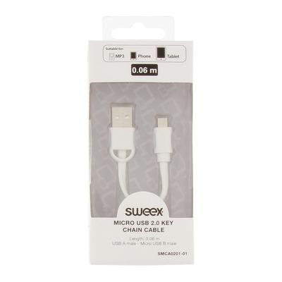 Sweex USB 2.0 / Micro-USB, 0.06 m USB kabel - Wit