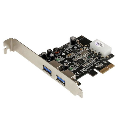 StarTech.com 2-poorts PCI Express (PCIe) SuperSpeed USB 3.0-kaartadapter met UASP LP4-voeding .....