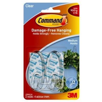 3m hook: 2 Medium Hooks, 4 Clear Strips Clear - Transparant