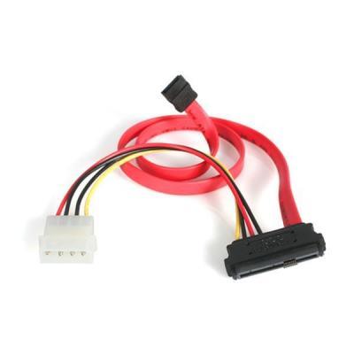 Startech.com electriciteitssnoer: 45 cm SAS 29-Pin naar SATA Kabel met LP4 Voeding - Rood